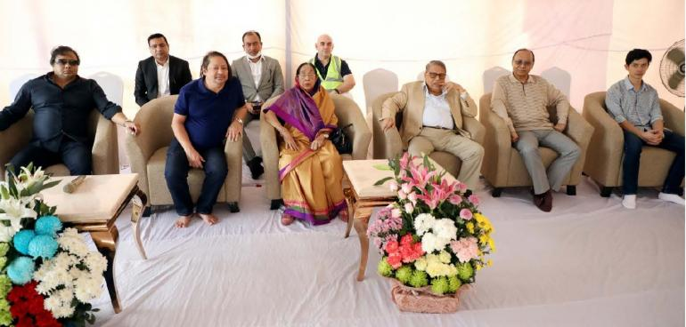 Mr. Zainul Haque Sikder – Chairman of Sikder Group, Ms. Monowara Sikder – Chairman of ZH Sikder Woman's Medical College and Hospital, Mr. Ron Haque Sikder – Managing Director of Sikder Group, Mr. Ahmed Akbar Sobhan – Chairman of Bashundhara Group, and other concerns related to the project today (23rd March, 2020) visited the Central Business District (CBD) project site at Purbachal New Town Area to see the progress of the project.
